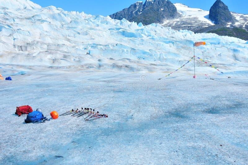 Trekking Equipment on Mendenhall Glacier in Juneau Alaska royalty free stock images
