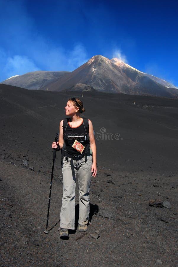 Trekking on Etna volcano (Sicily) stock photo