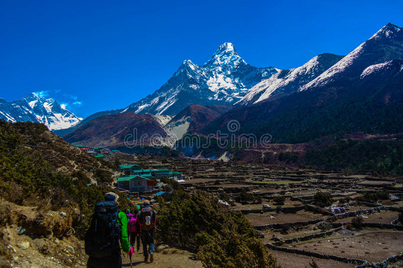 Trekking in Everest region, with Ama Dablam in the back stock images