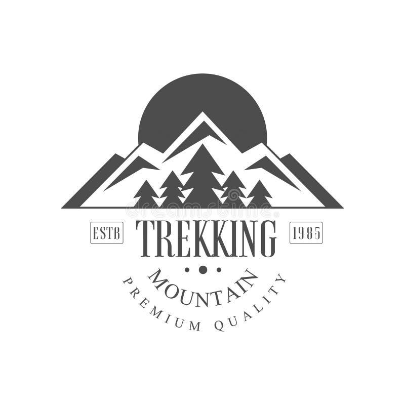 Trekking för estb1985 logo för berg högvärdig kvalitets- design, för svartvit utomhus- affärsföretag bergutforskning för tappning vektor illustrationer