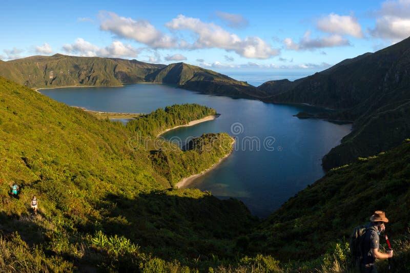 Trekking in the Fire Lagoon (Lagoa do Fogo) royalty free stock photos