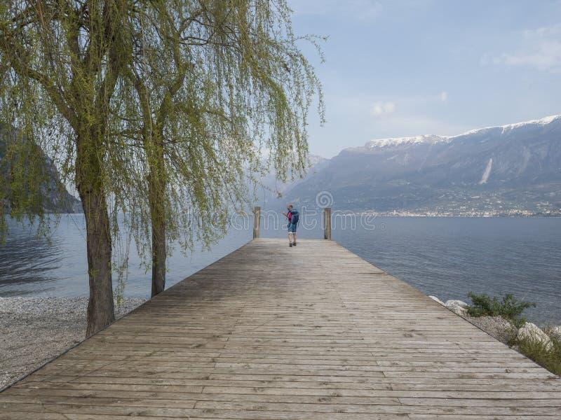 Trekking on garda lake stock image