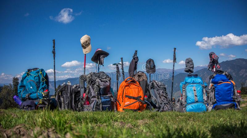 Trekking gear on display by the trek team royalty free stock photography