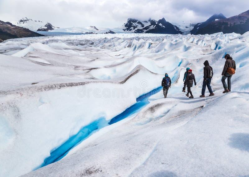 Trekking a geleira de Perito Moreno em Argentina imagens de stock