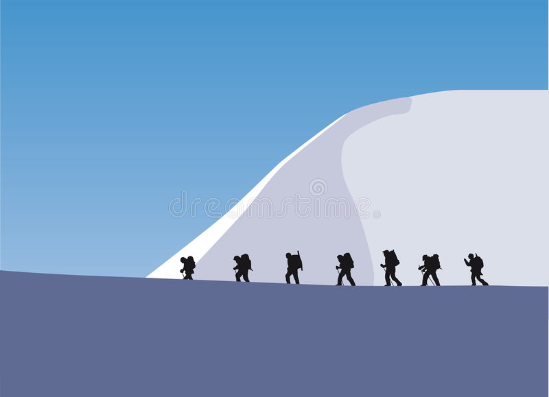 Trekking in a glacier. Seven people are trekking in a glacier