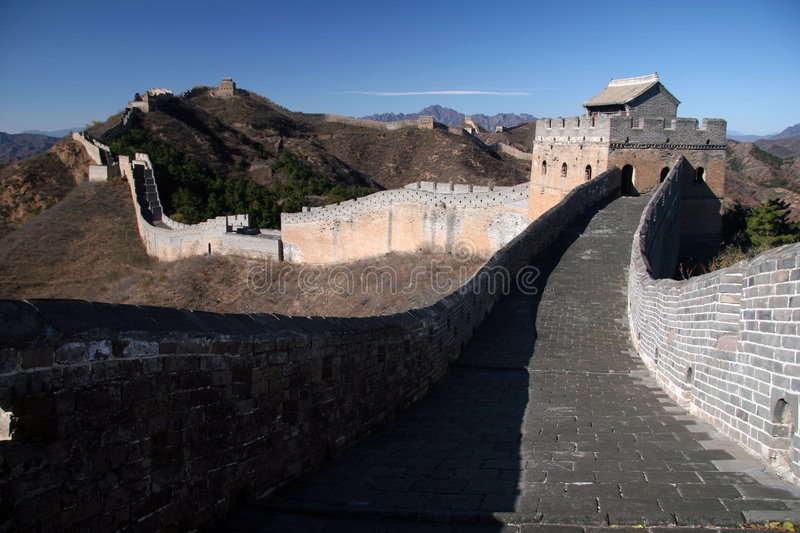 Trekking on Great Wall. Famous worldwide landmark-The Great Wall, which stretches over approximately 6,400 km (4,000 miles). China royalty free stock photography