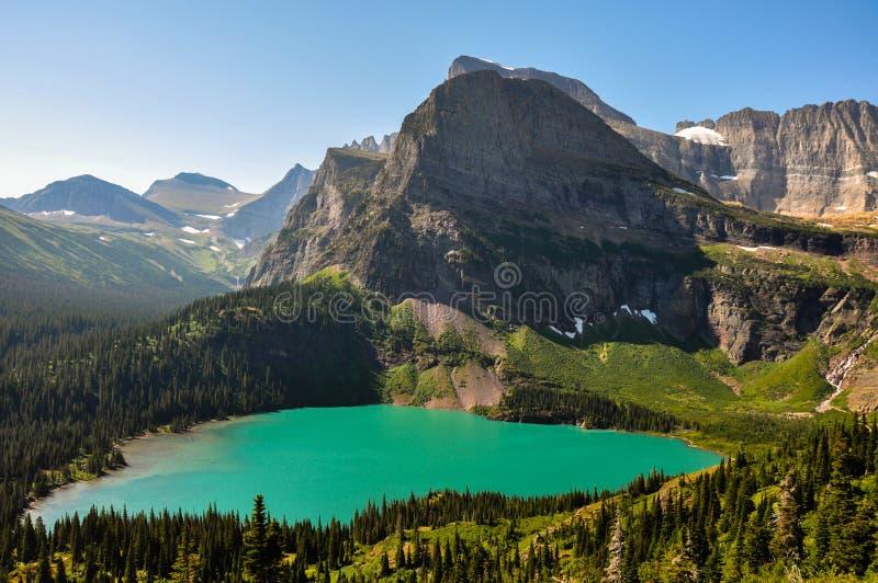 Trekking in Grinnel-Meersleep, Gletsjer Nationaal Park, Montana, stock foto