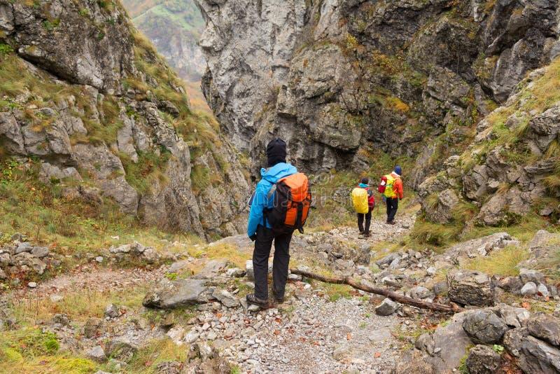 Trekking i Mehedinti berg i höst arkivfoto