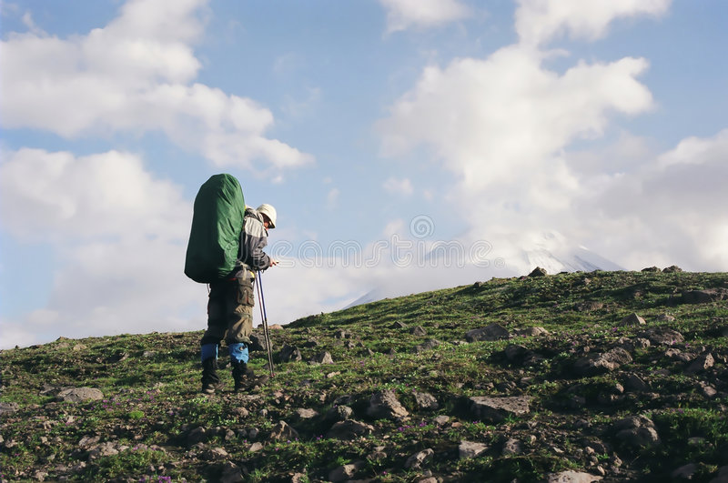 Trekking in Kamchatka lizenzfreies stockfoto