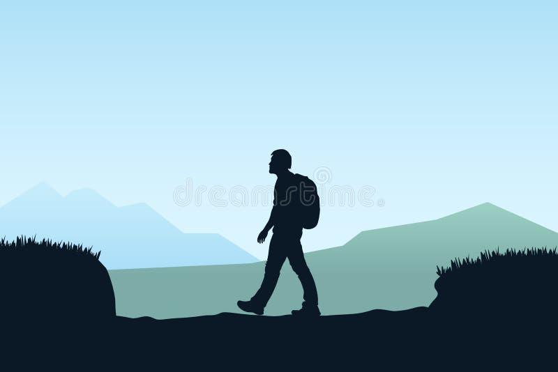 Trekking męska sylwetka ilustracji