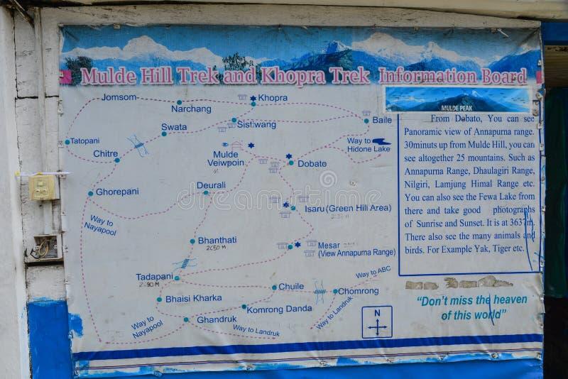 Trekking map of Annapurna Massif, Nepal. Tadapani, Nepal - Oct 21, 2017. Trekking map of Annapurna Massif, Nepal. Annapurna peaks are among the world most royalty free stock image