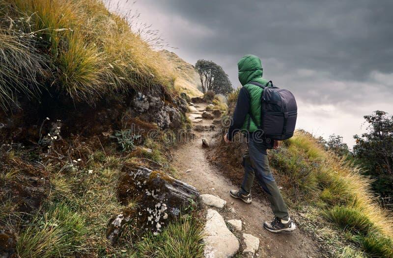 Trekking in montagne dell'Himalaya immagine stock libera da diritti