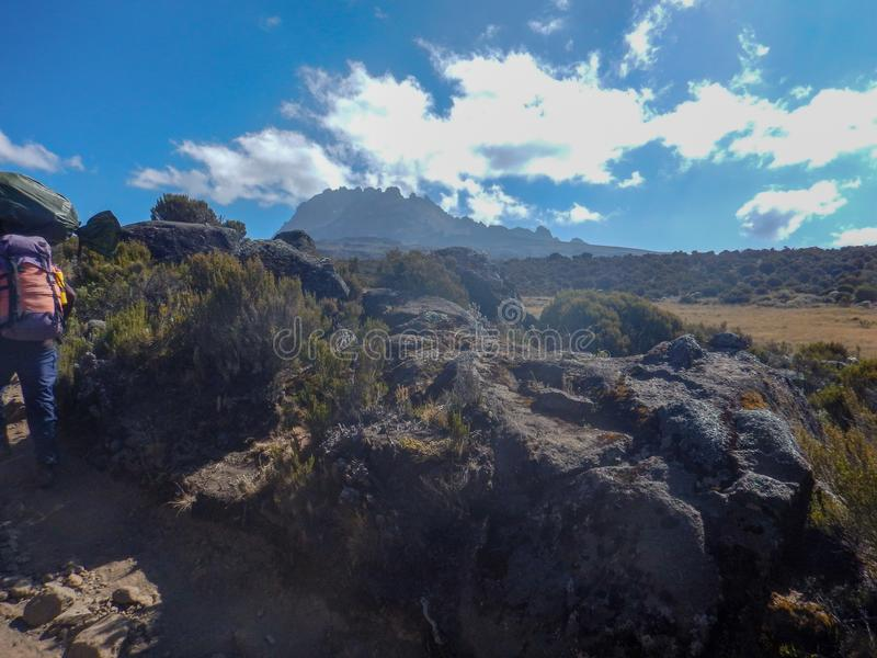 Trekking Mount Kilimanjaro, Танзания стоковая фотография rf