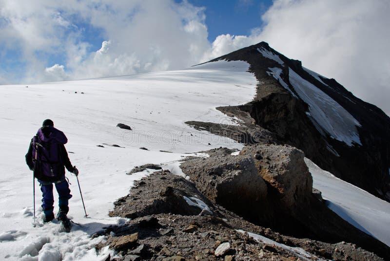 Trekking on a mountain royalty free stock photos