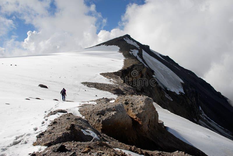 Trekking on a mountain stock photography