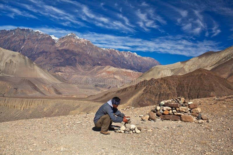 Trekking na região de Annapurna imagem de stock royalty free