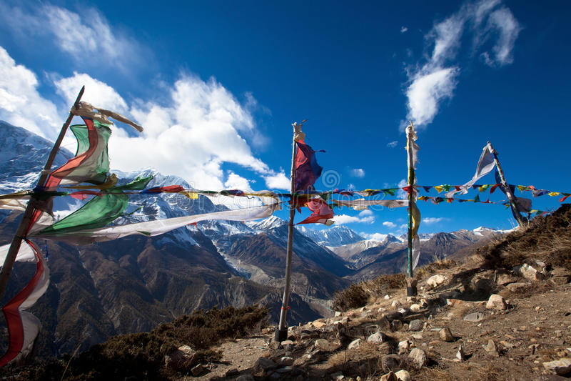 Trekking in Nepal stockfotos
