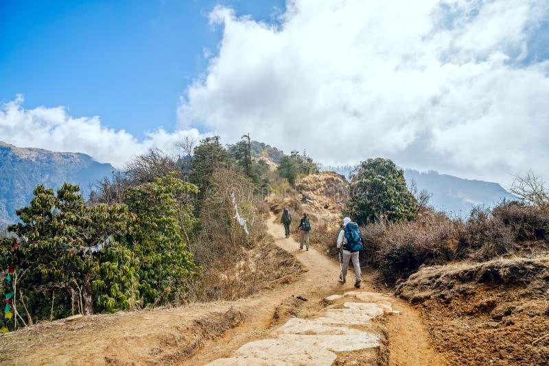 Trekking in Nepal stock afbeeldingen