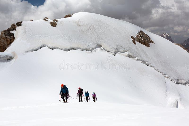 Trekking nos caminhantes de Himalaya que andam acima na geleira fotos de stock