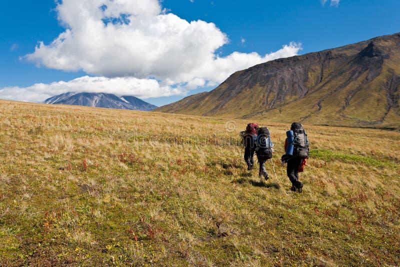 Trekking på Kamchatka. arkivfoton