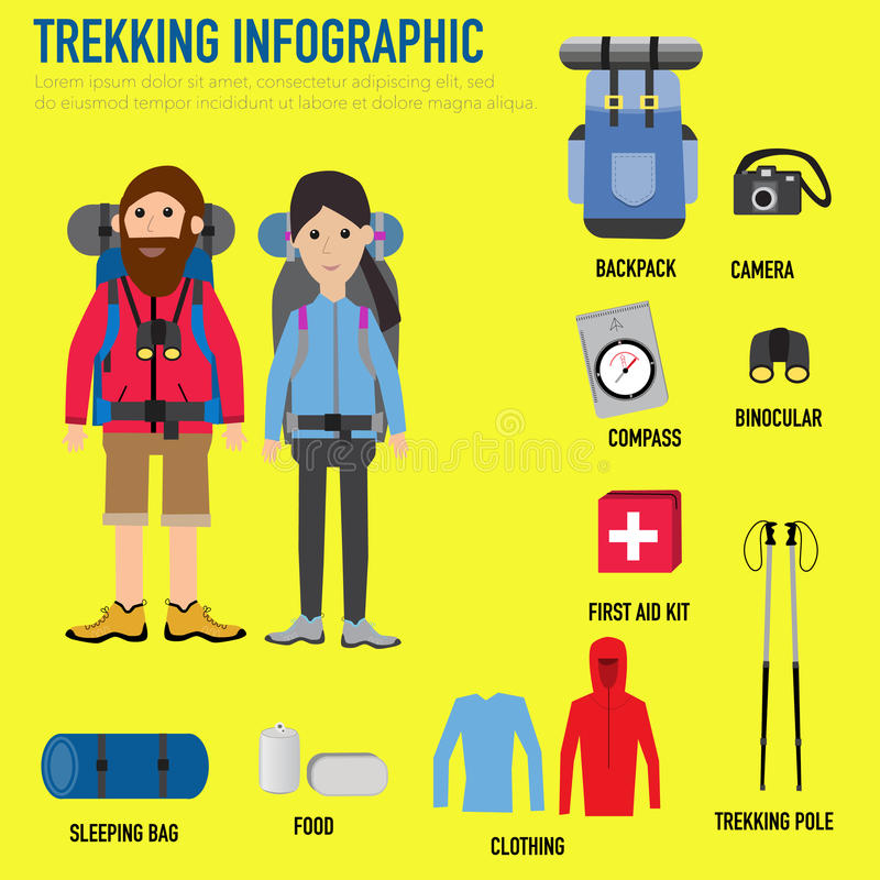 Trekking para infographic z plecakiem, kamera, kompas, sleepin ilustracji