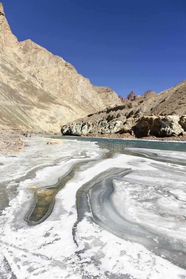Trekking on the partially frozen Zanskar river. Extreme adventure concept image. The raging Zanskar river freezes for 4-6 weeks every year. Conditions change stock photo