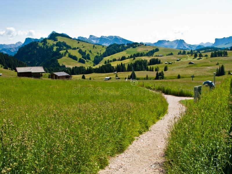 Trekking path in Italian Alps stock photos
