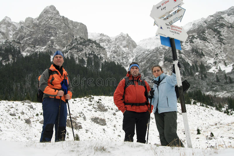 Trekking people resting stock image