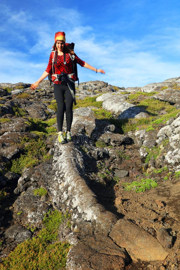 Trekking on Pico Volcano stock images