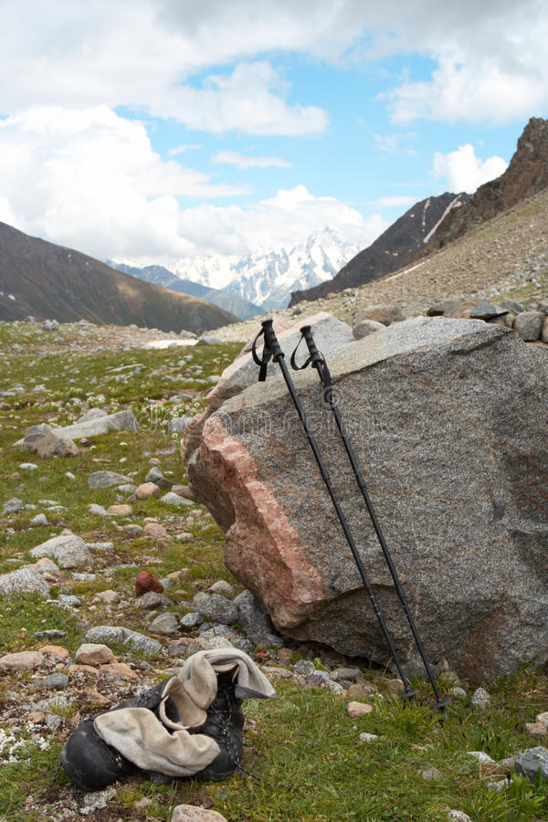 Download Trekking Poles And The Shoes Stock Image - Image: 10393449