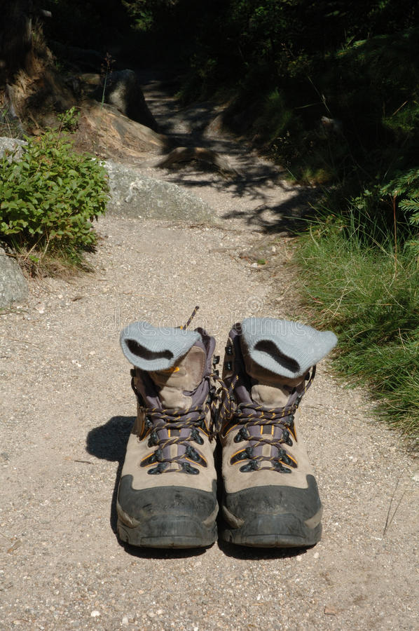 Trekking Shoes On Trail Stock Photography