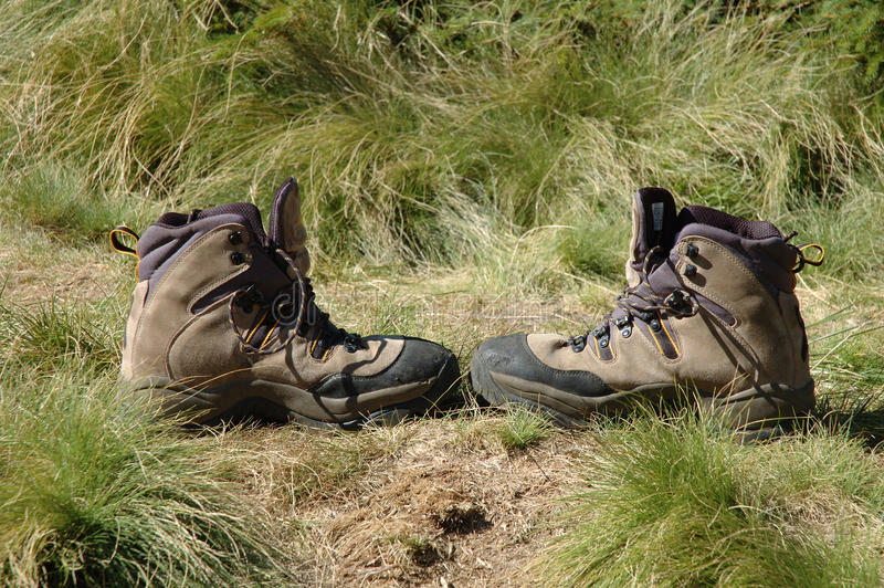 Trekking Shoes On Trail Stock Images