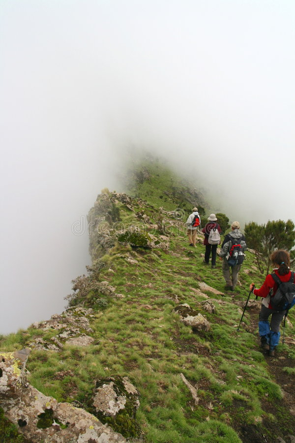 Trekking in Simien mountains royalty free stock photo
