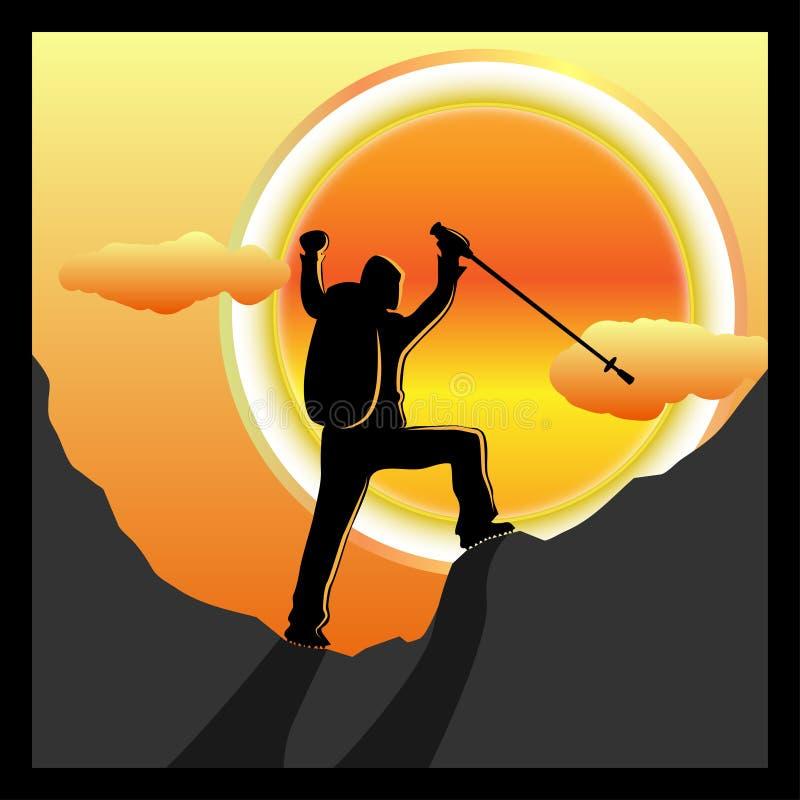 Trekking sukces royalty ilustracja
