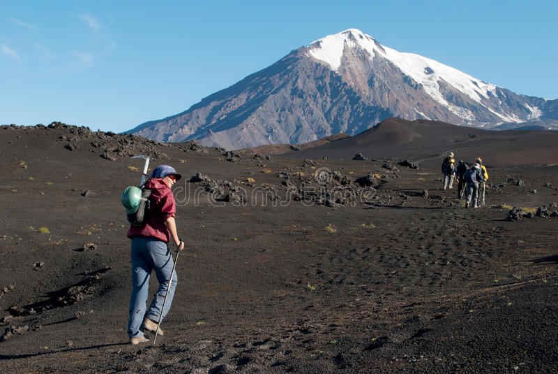Trekking sul Kamchatka, Russia fotografia stock