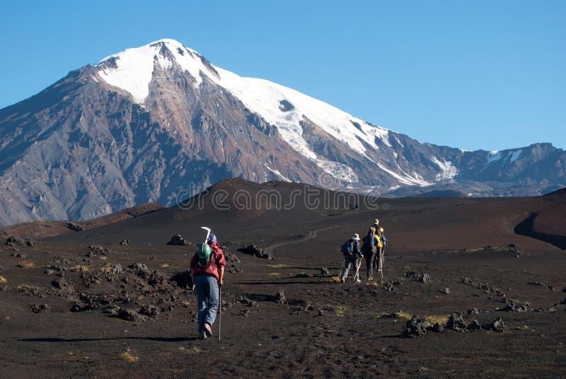 Trekking sul Kamchatka, Russia fotografie stock libere da diritti
