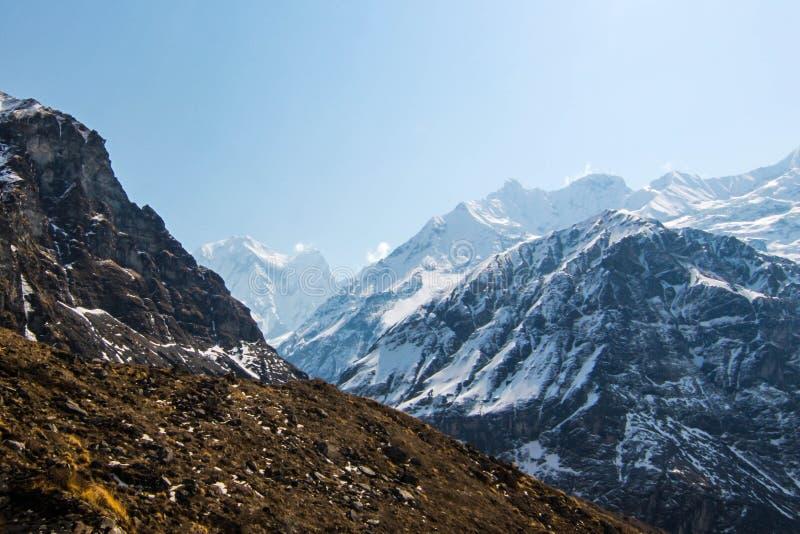 Trekking toAnnapurna podstawowy obóz w Nepal obraz stock
