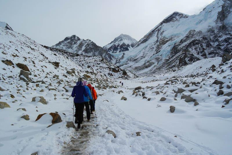 Trekking to Everest Base Camp stock photos