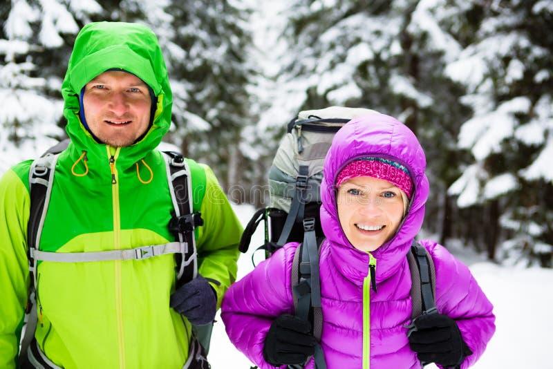 Trekking van paar de gelukkige wandelaars in de winterhout royalty-vrije stock afbeelding