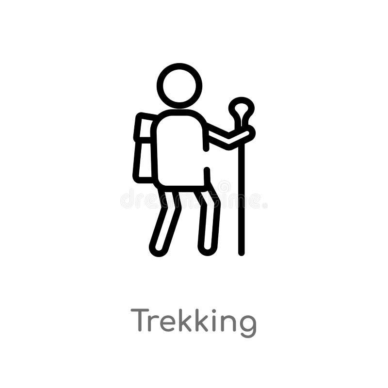trekking vektorsymbol för översikt isolerad svart enkel linje beståndsdelillustration från hobbybegrepp Redigerbar vektorslagläng royaltyfri illustrationer