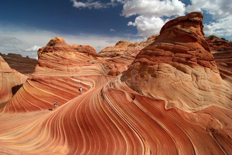 Trekking vermeil de falaises photo stock