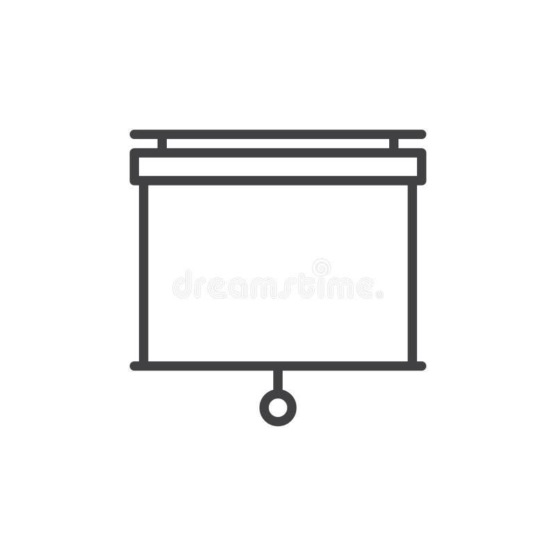 Trekkracht onderaan de lijnpictogram van het projectorscherm royalty-vrije illustratie