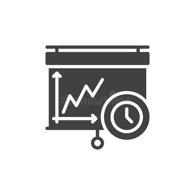 Trekkracht onderaan van de het projectorscherm en klok pictogramvector stock illustratie