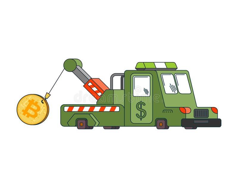 Trekkracht van de het Slepenvrachtwagen van de Bitcoinprijs de toenemende Cryptocurrencyprijsverhoging r vector illustratie
