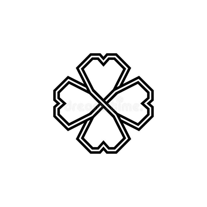Treklöver för fyra blad i keltisk stil, Sts Patrick symbol för växt av släktet Trifolium för dagvektor stock illustrationer