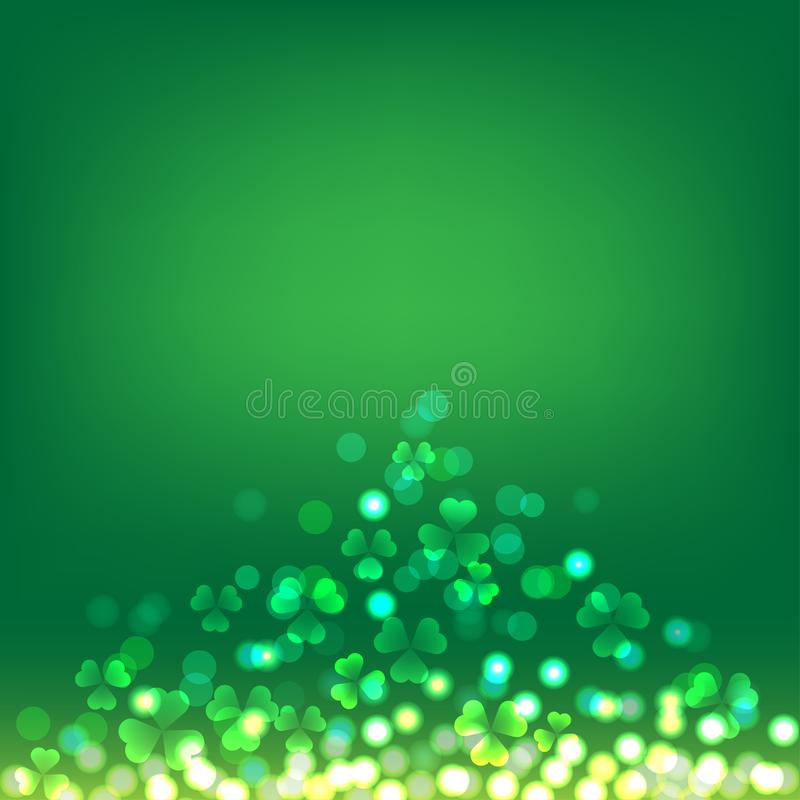 Treklöverbokeh på grön bakgrund för St Patrick Day royaltyfri illustrationer