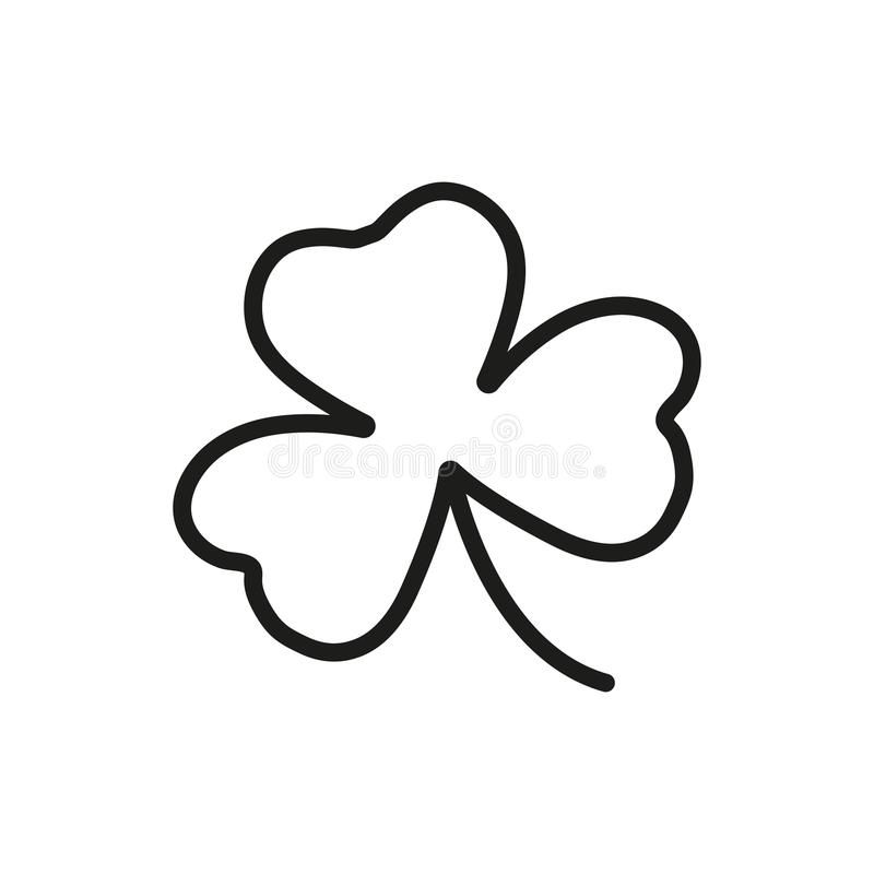 Treklöversymbol Översiktsvektor, irländskt växt av släktet Trifoliumsymbol royaltyfri illustrationer