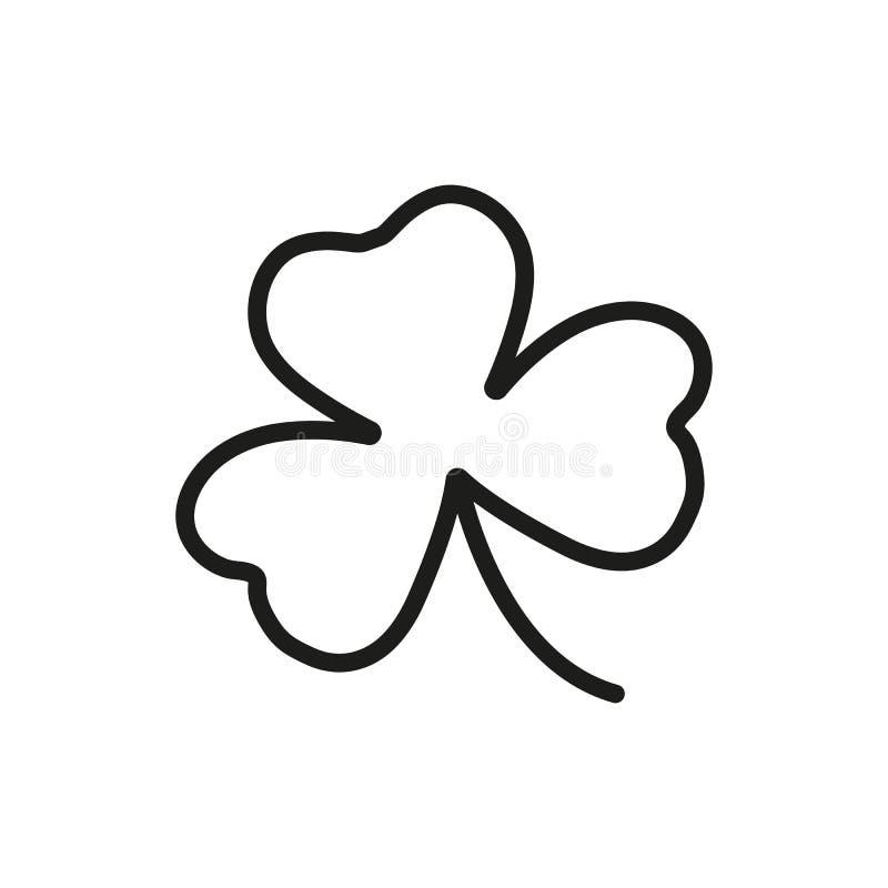 Treklöversymbol Översiktsvektor, irländskt växt av släktet Trifoliumsymbol vektor illustrationer