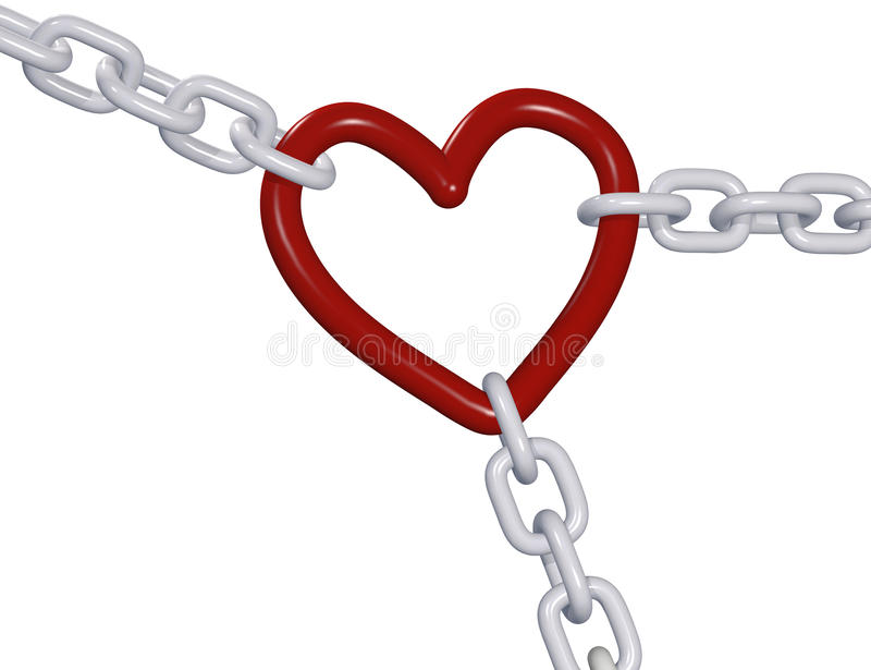 Trekt 3D hart drie van de valentijnskaart liefdeketen links royalty-vrije illustratie