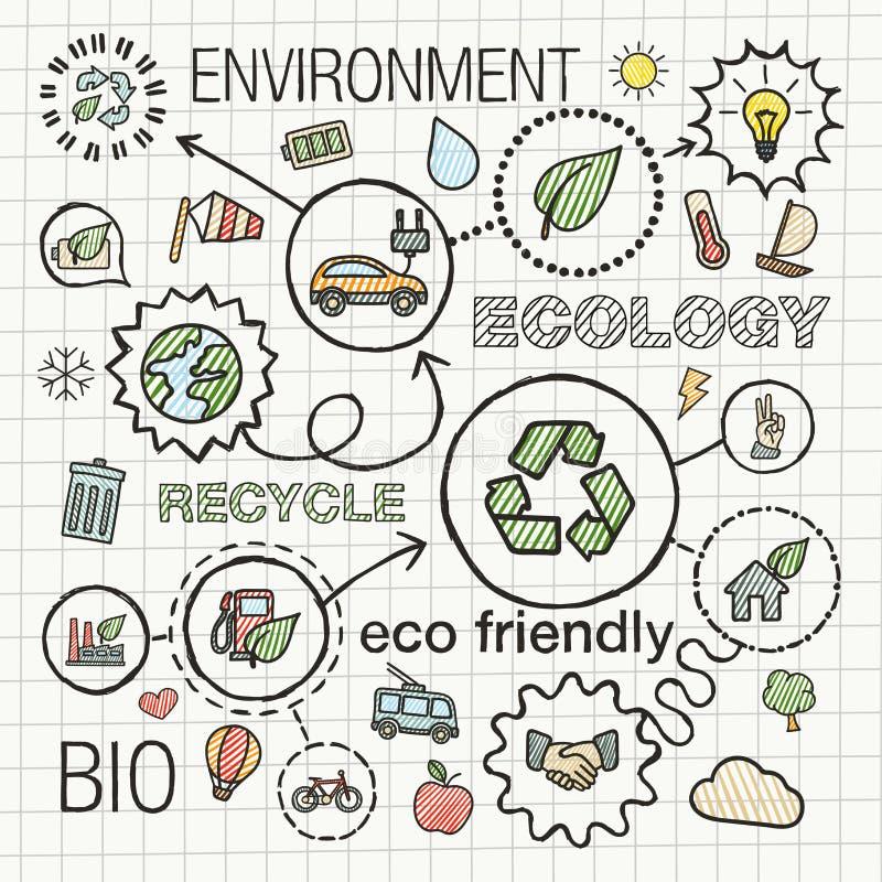 Trekt de ecologie infographic hand pictogrammen stock illustratie